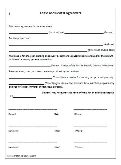 Lease Agreement For Rental House Lease Basic Rental Agreement Or Residential Lease This Rental Desk Rental Agreement Template