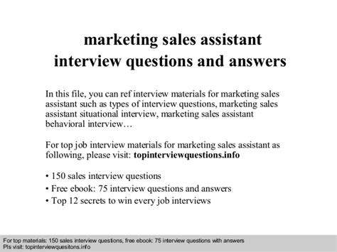 marketing sales assistant questions and answers