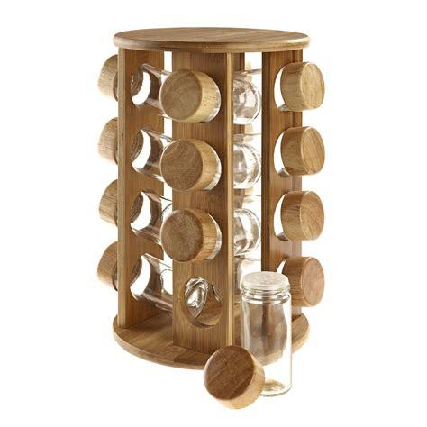 Spice Rack Gift wooden rotating revolving bamboo spice rack glass jars