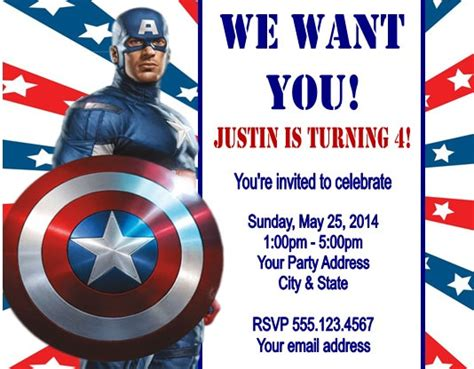 American Birthday Card Template by Captain America Birthday Invitations Birthday
