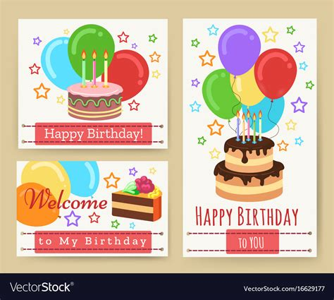 Birthday Greeting Card Templates For Kids Vector Image Child Birthday Card Template