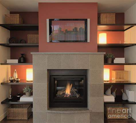 Big Screen Tv Fireplace by Fireplace With Flat Screen Tv Above The Mantle Photograph By Andersen Ross