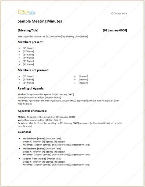 meeting minutes template in descriptive format freelance design