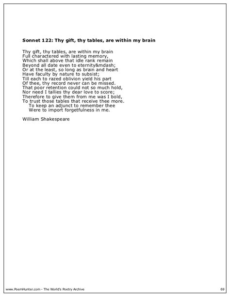 sonnet 122 thy gift thy tables are within my brain poem william shakespeare 2004 9