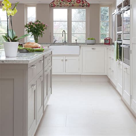 Tiled Kitchen Floors Ideas pale grey and white traditional kitchen kitchen