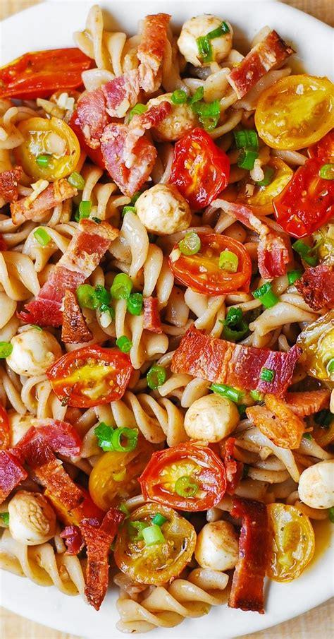 pasta salad with bacon pasta salad with bacon tomatoes and mozzarella recipe bacon salads and mozzarella
