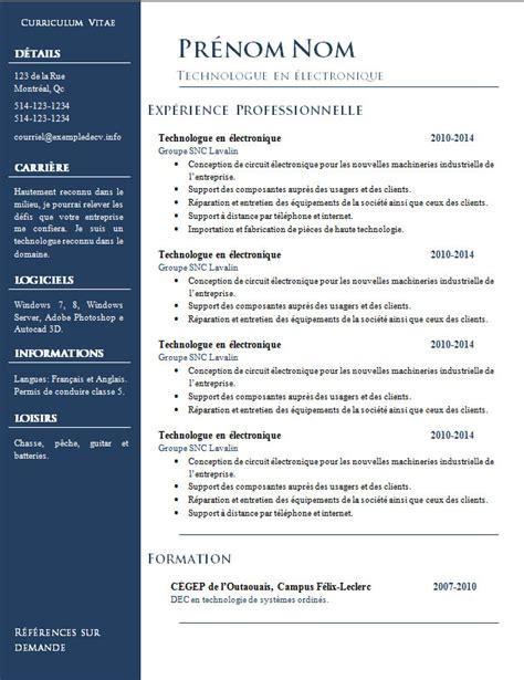 Resume Fair Exle by Modele Cv Word 2014