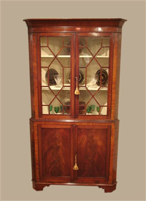 Antique mahogany corner standing cabinet : Antique Corner