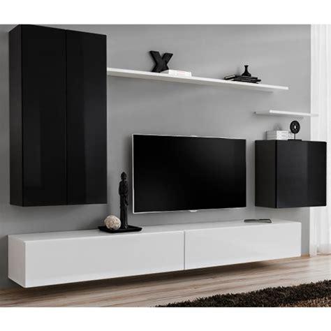 Meuble Tv Mural Noir by Meuble Tv Mural Design Quot Switch Ii Quot 270cm Noir Blanc