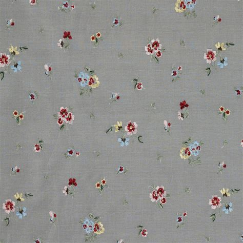 embroidered fabrics multi coloured floral embroidered organza ivory