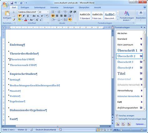 Word Vorlage Projekt formatvorlagen in word f 252 r inhaltsverzeichnis design und