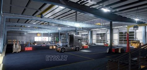 how big is a garage big garage with your company name ets 2 mods
