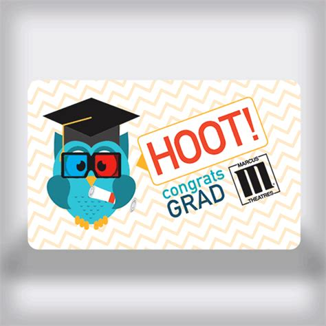 Marcus Theatre Gift Card - marcus theatres graduation movie gift card owl edition