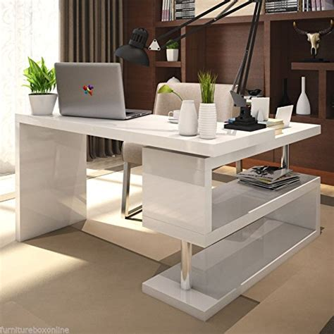 High Work Desk by Furnitureboxuk Siena White High Gloss Computer Pc Home