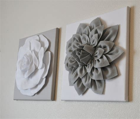 gray wall decor two wall flowers gray dahlia on white and white rose by