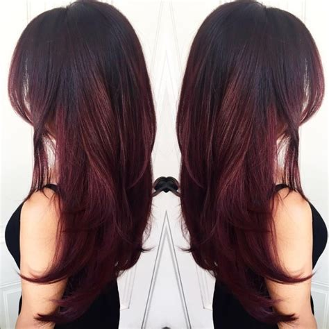 multi layered haircuts long hair burgundy hair with dark red purple and brown highlights