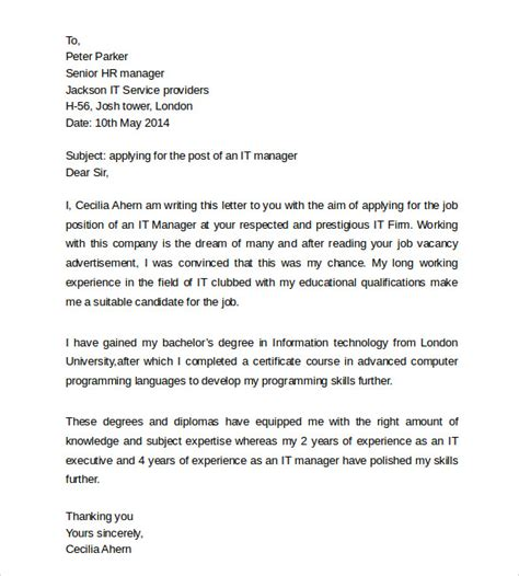cover letter sle for information technology position education cover letter 11 free documents in