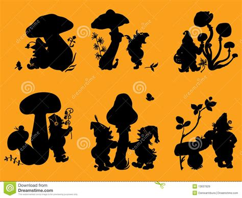 silhouettes of gnomes and mushrooms royalty free stock