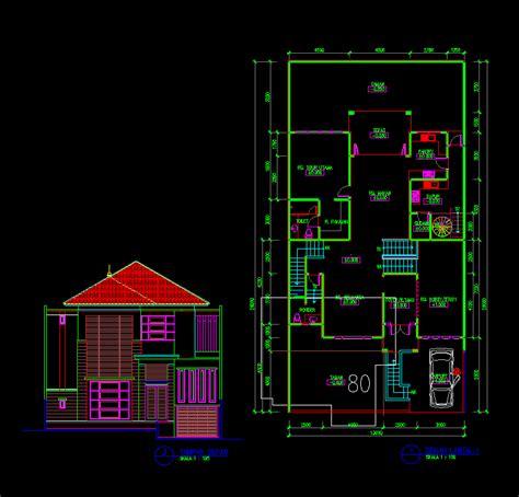 gambar autocad desain rumah tinggal 2 lantai 13x14 meter basement dwg
