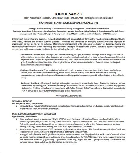 Executive Resume Templates by Executive Resume Template 11 Free Word Excel Pdf
