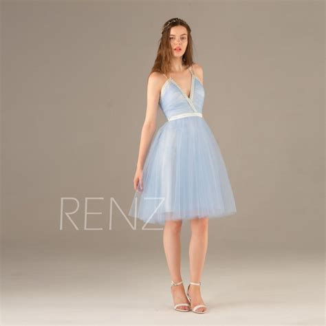 light blue spaghetti prom dress 2015 light blue bridesmaid dress beaded v neck