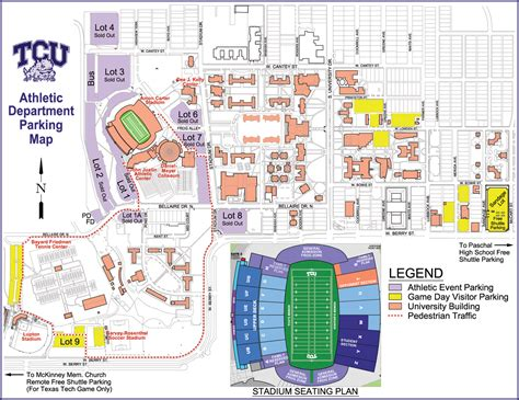texas christian university map tcu stadium map my