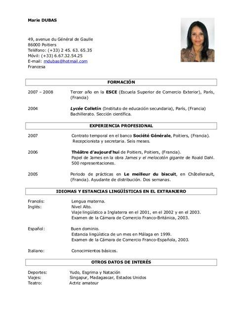 Modelo Curriculum Europeo Frances Modelos Cv 2015