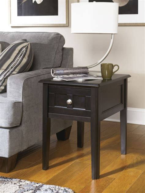 ashley furniture chair side  table henning  black