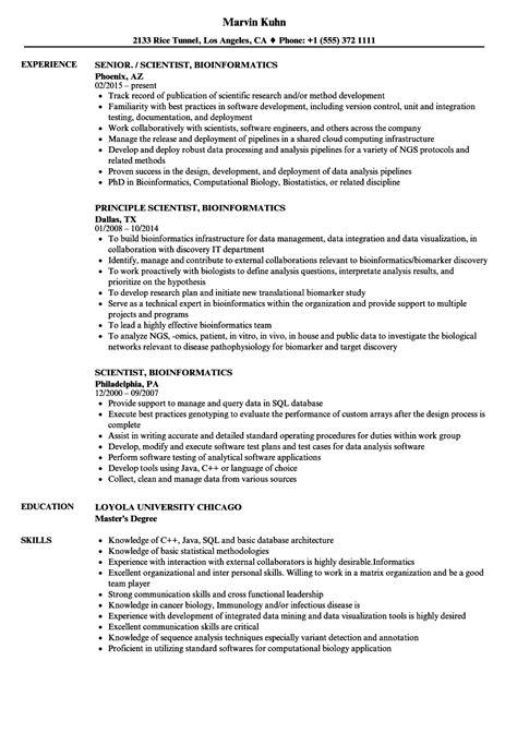 Bioinformatics Resume by Scientist Bioinformatics Resume Sles Velvet