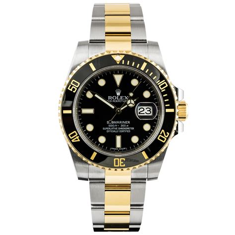 pre owned rolex submariner date steel 18ct yellow