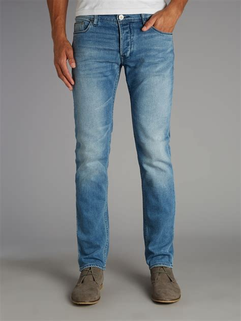 light blue wash jeans mens lyst armani jeans light wash slim fit jean in blue for men