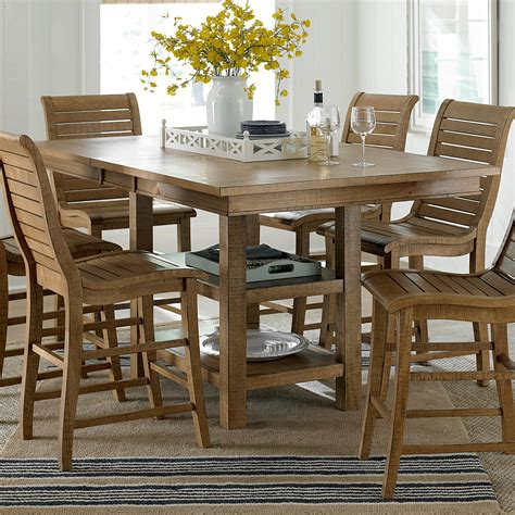 rectangular counter height table and chairs progressive furniture willow dining distressed finish