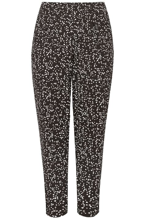 Small And Imperfectly Formed Trousers by Black White Dotty Print Jersey Harem Trousers Plus Size