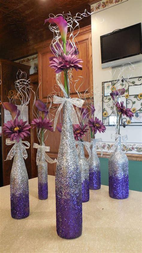 purple ombre wine bottle vases for centerpieces diy
