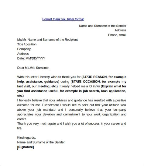 thank you letter after address sle thank you letter format 9 free documents in pdf