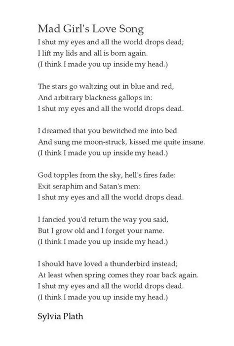 Plath Poem by Sylvia Plath My My Thoughts Just Me A Walking