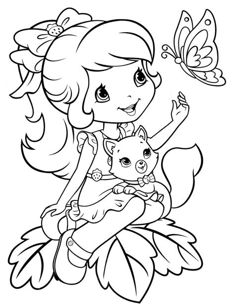 strawberry shortcake coloring page sellos digitales