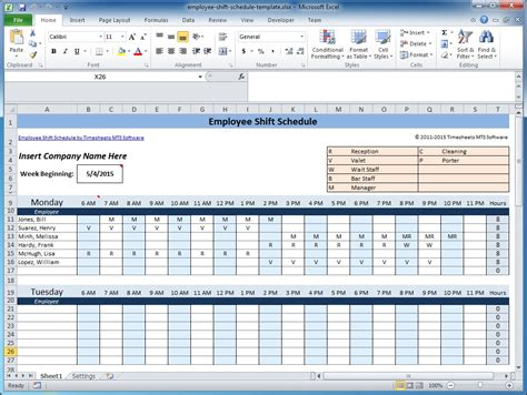 weekly employee shift schedule template excel schedule