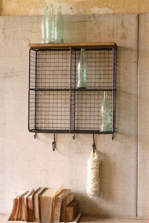 wire mesh  square cubbies  wooden top