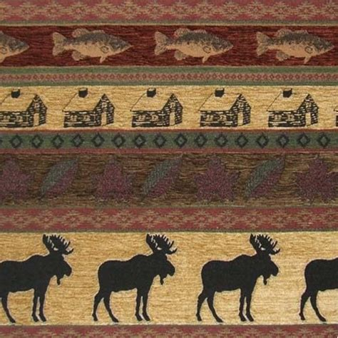 Moose Upholstery Fabric by Upholstery Fabric Mountain Lodge Cabin Rustic Moose Fish