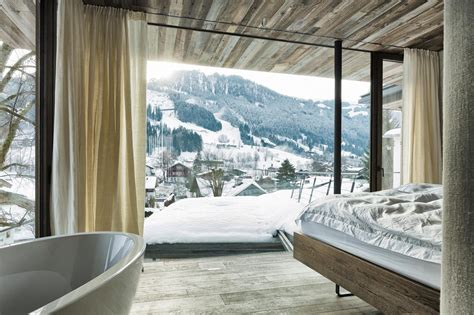 glass bedroom country house austrian chalet with amazing interior made