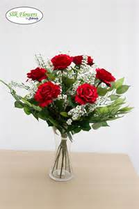 Vase Poem Artificial Silk Classic 6 Red Rose And White Gypsophilia