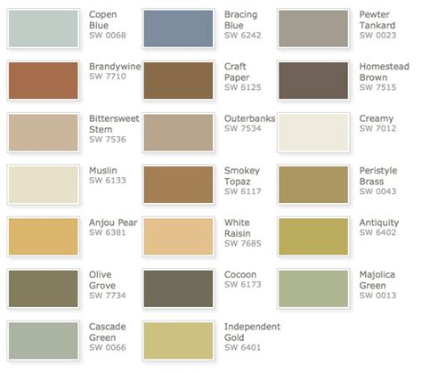 sherwin williams rustic refined color palette color schemes decorating house