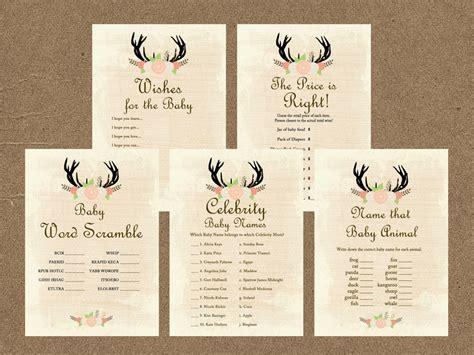 Oh Deer Antlers Baby Shower Game Pack   Magical Printable