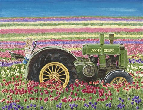 tractor painting tractor in tulips painting by robin