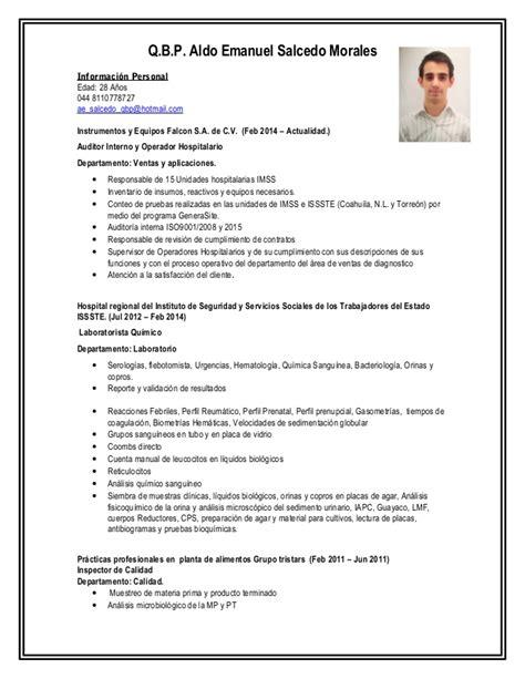 Modelo Curriculum Auditor Interno Qbp Aldo Salcedo Curriculum Vitae Linkedin