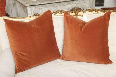 Rust Pillows pair rust velvet pillows at 1stdibs