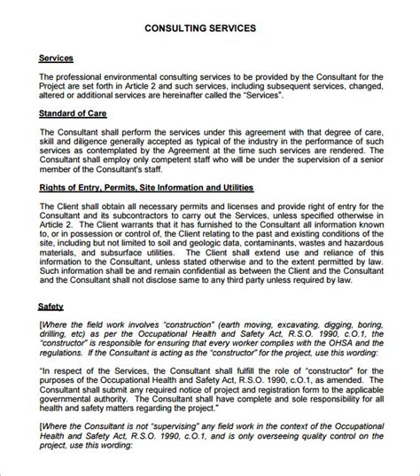 consultation contract template consulting agreement 5 free pdf doc