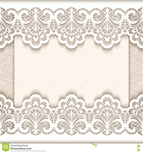 free lace template card vintage lace greeting card with paper borders stock vector