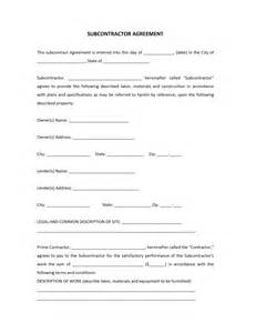 contractor agreement template free subcontractor agreement template free microsoft word